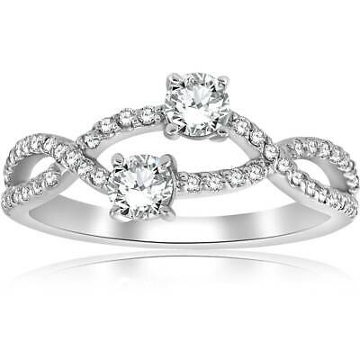 Buy 3/4ct Two Stone Forever Us Diamond Engagement Bypass Ring in White Gold