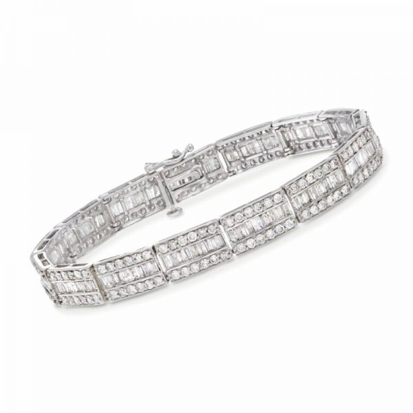 Buy 6.00 ct. t.w. Baguette and Round Diamond Bracelet in 14kt White Gold