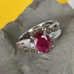 Buy 925 Sterling Silver Ruby Diamond Promise Ring Size 7 Ct 2.3 I Color I3 Clarity