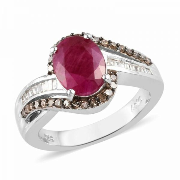 Buy 925 Sterling Silver Ruby Diamond Promise Ring Size 9 Ct 2.3 I Color I3 Clarity