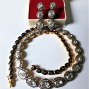 Buy 925 Sterling Silver Sets Rose Cut Polki Pave Diamond Handmade Sets Fine Jewelry