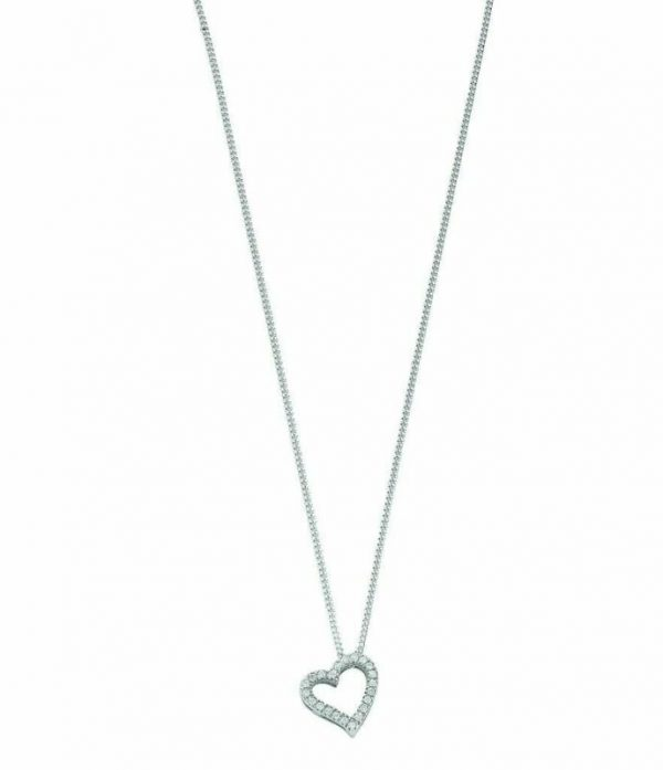 Buy 9ct White Gold 0.13ct Diamond Heart Pendant with 18in/45cm Chain 14mm