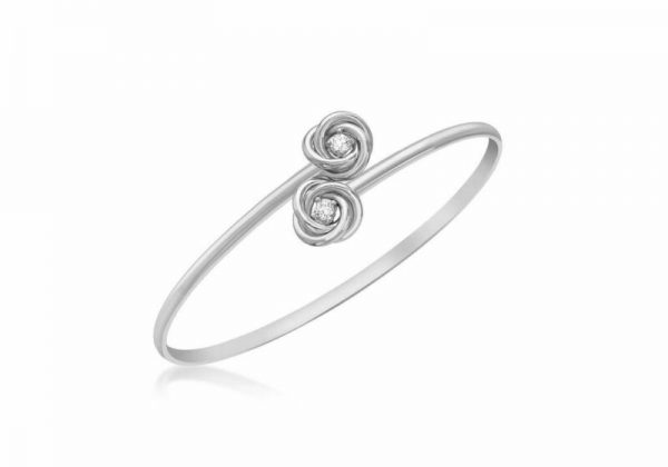 Buy 9ct White Gold Clear Stone Knot Flexible Bangle
