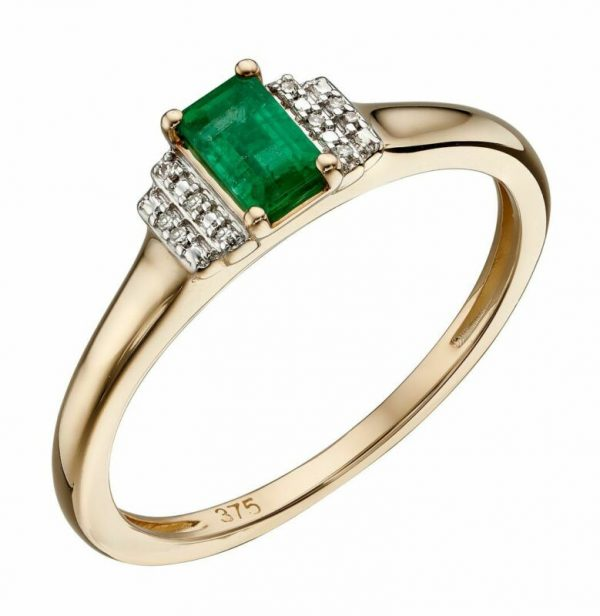 Buy Elements Gold 9ct Emerald Yellow Gold Baguette Ring