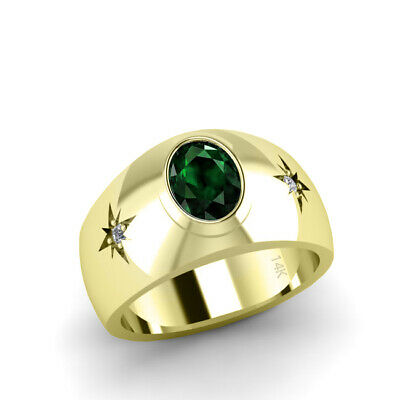 Buy Emerald Ring for Man in Solid 14K Yellow Gold with 2 Diamonds North Star Men's