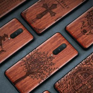 Buy For OnePlus 8 Pro OnePlus 7 Pro 100% Natural Wood Sculpture Carving soft case