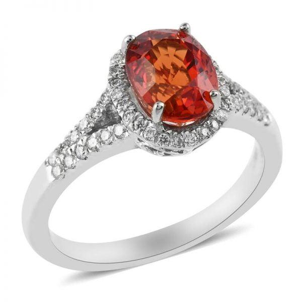Buy ILIANA 18K White Gold AAA Sapphire Diamond Halo Ring Size 7 Ct 1.7 H Color Si1