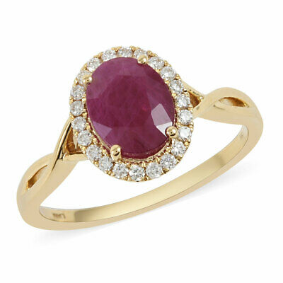 Buy ILIANA 18K Yellow Gold AAA Ruby Diamond Ring Size 10 Ct 2.3 H Color Si1 Clarity