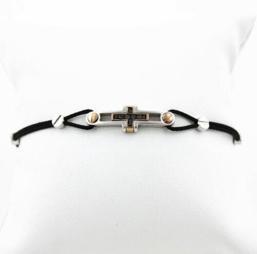 Buy Men's Bracelet Zancan Titanium with Diamonds Black, Gold 18 Carats Ref. EXB221BR