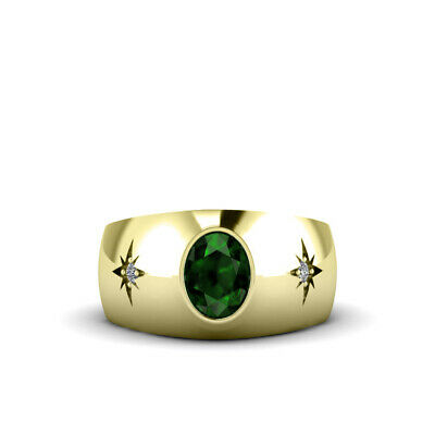 Buy Men's Ring in Solid 18K Yellow Gold Oval Emerald Gemstone with Diamonds All Size
