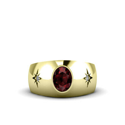 Buy Men's Ruby Diamond Ring in 18K Yellow Gold Gents Gemstone Jewelry Birthday Gift