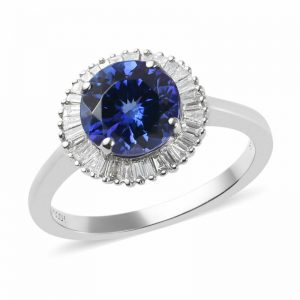 Buy RHAPSODY 950 Platinum AAAA Tanzanite Diamond Ring Size 11 Ct 2.3 F Color Vs1