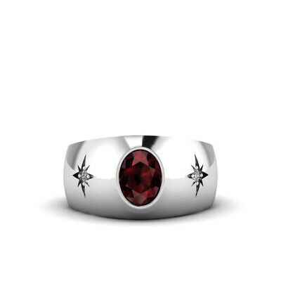 Buy Ruby and 2 Natural Diamonds in 14K Solid White Gold Men's Modern Huge Heavy Ring