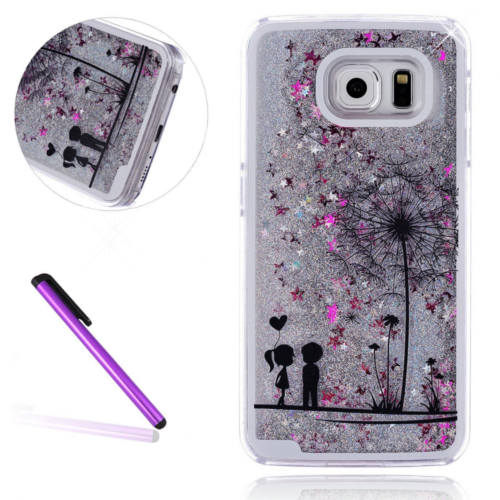 Buy S7 Edge Case,LEECO Galaxy S7 Edge Glitter Flowing Liquid Floating Moving Hard