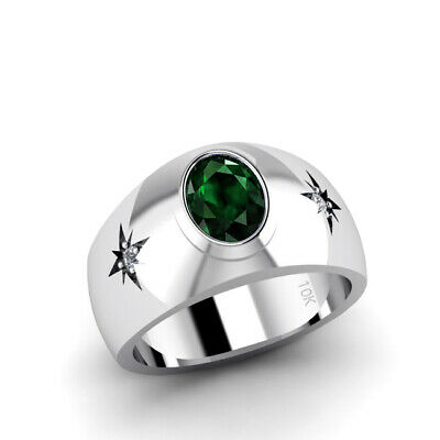 Buy Solid 10K Gold Emerald Male Ring with Natural DIAMONDS May Birthstone Men's Ring
