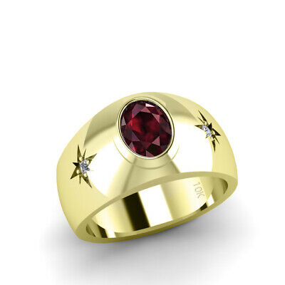 Buy Solid 10K Gold Men's Classic Ring Natural Diamonds with Ruby Promise for Men