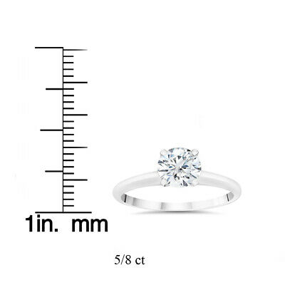 Buy VS 5/8ct Lab Grown 100% Diamond Solitaire Engagement Ring 14k White Gold
