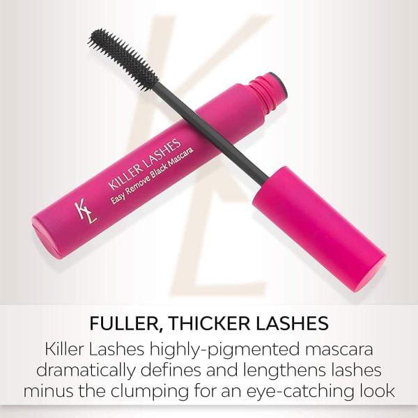 Buy Killer Lashes Eyelash Growth Serum, Mascara Black and Fiber Lash Extender Set, Clear Mascara, Smudge Free Mascara, and Black Liquid Eyeliner Pen