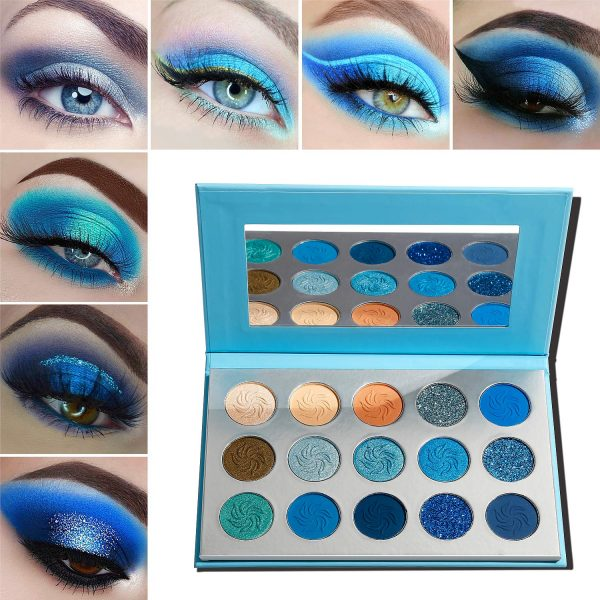 Buy 10Pcs/Set Makeup Eyeshadow Pallete 15 Color Bright Pigmented Glitter Eye Shadow Palette Green Blue Orange Purple Make Up,Light Green